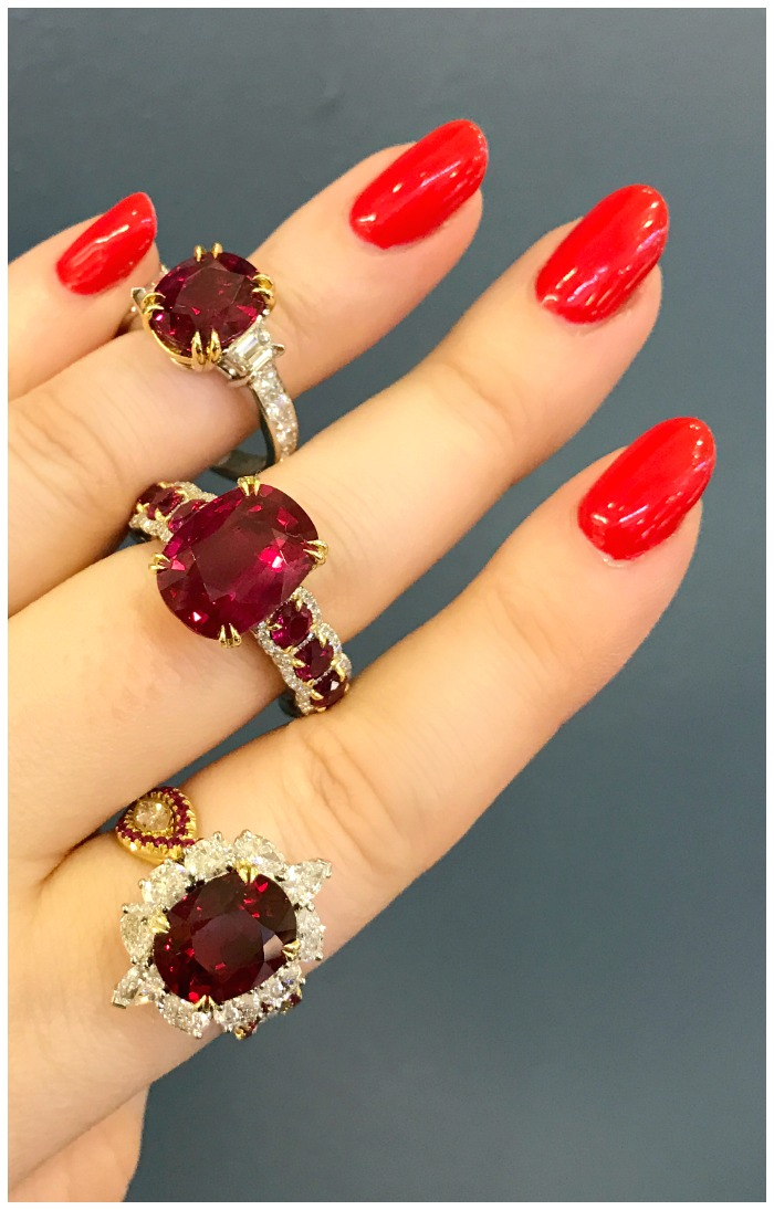 Three fantastically beautiful ruby rings from Omi Prive.