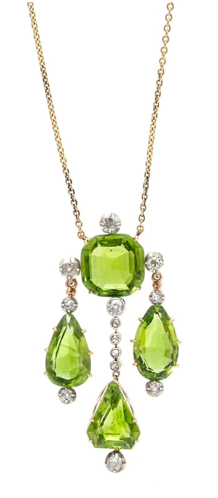 A beautiful and unusual peridot and diamond necklace! Antique, and oh so pretty.