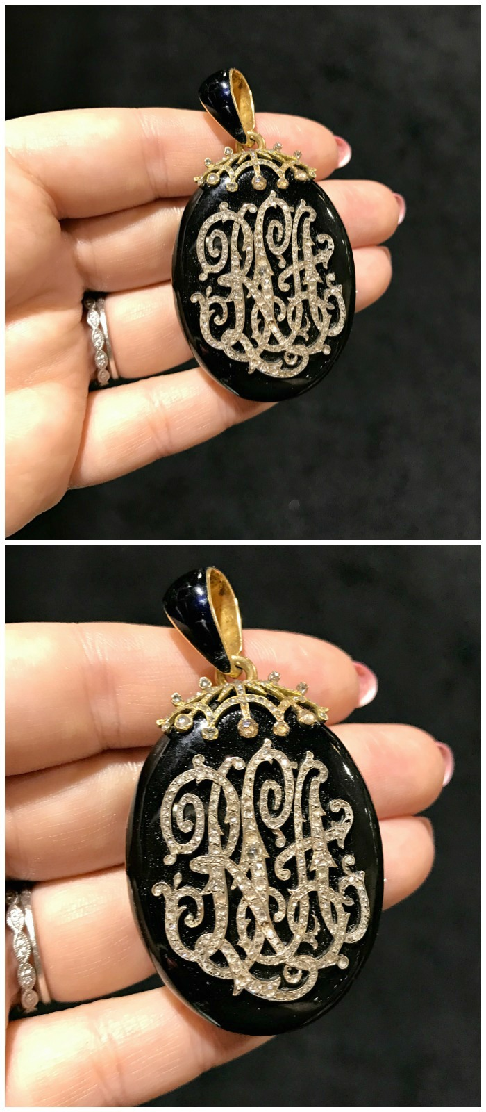 A beautiful antique diamond monogram locket from Craig Evan Small. Seen at the Original Miami Antique Show.