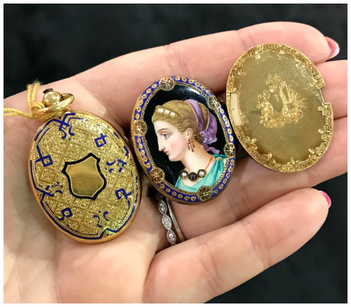 A beautiful antique portrait locket from the Original Miami Antique Show.