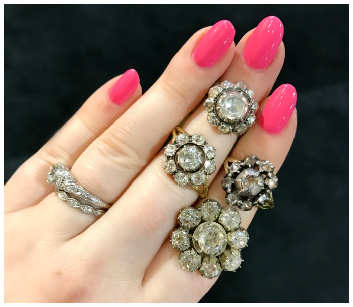 A cluster of antique cluster rings from DK Bressler. Spotted at the Original Miami Antique Show.
