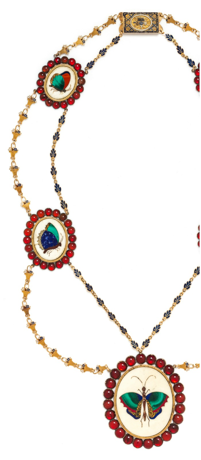 A fabulous vintage necklace with gemstones, enamel detail, and pietra dura insect mosaics. In Leslie Hindman's April jewelry auction.