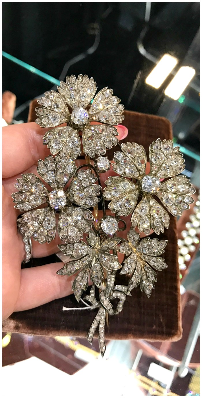 A fantastic antique diamond flower brooch. Seen at Faerber NY at the Original Miami Antique Show.