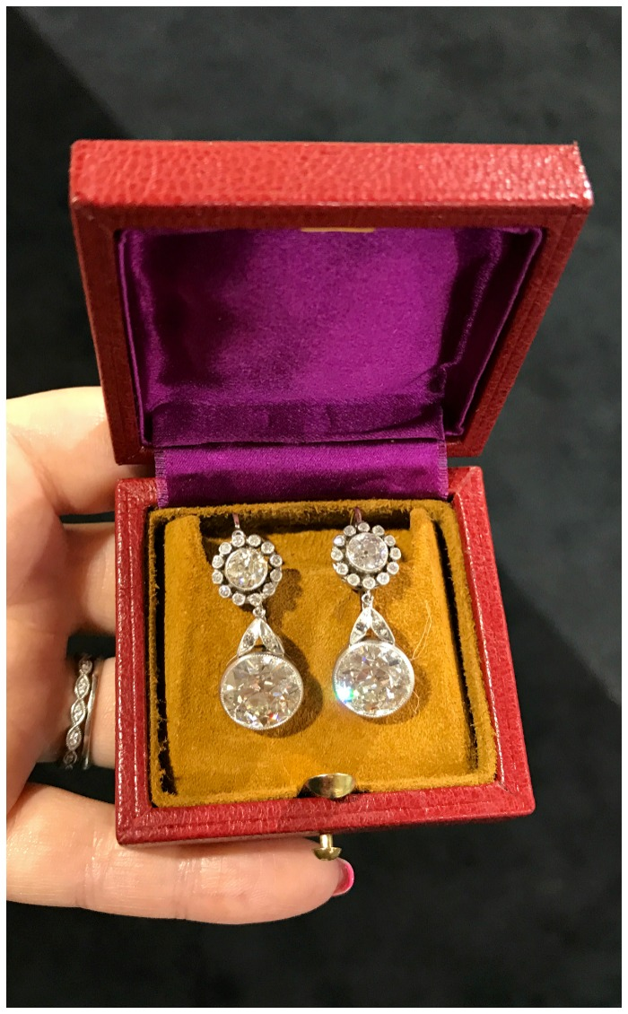 A spectacular pair of antique diamond earrings from Jogani.