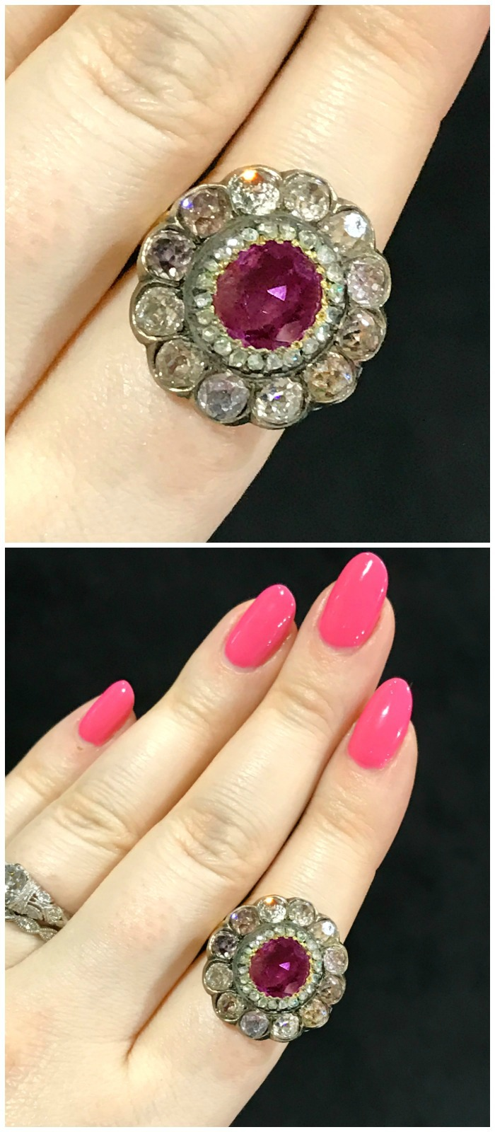 An incredible ruby ring with pink diamonds, from the Georgian Era. Spotted at Jogani at the Original Miami Antique Show.