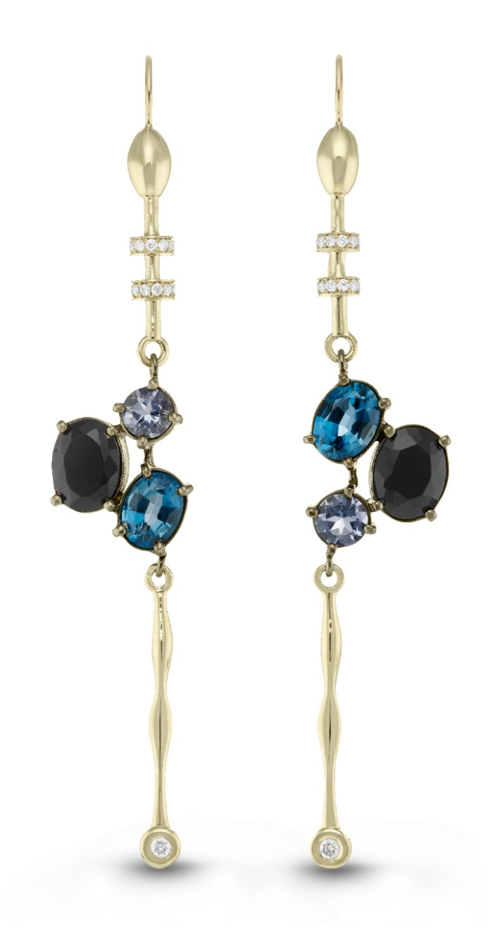 Beolli for Vitae Ascendere three stone earrings with onyx, topaz, and diamonds.