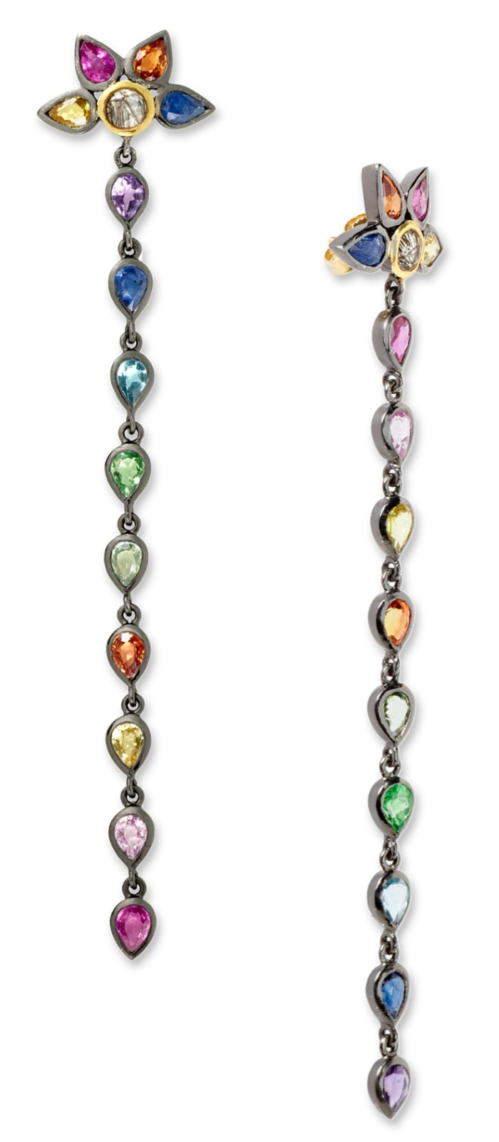 Fan drop earrings by SheBee, with colorful sapphires and tourmillated quartz in silver and gold.