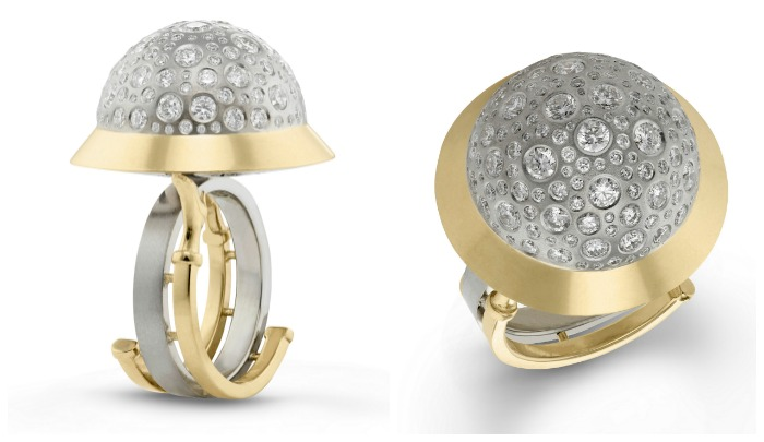 The amazing, sculptural spherical diamond ring by Beolli for Vitae Ascendere, with 2.1 carats of diamonds.