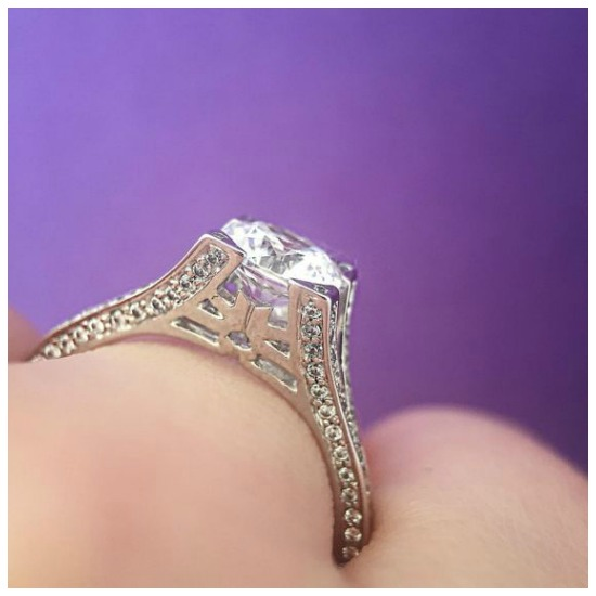 The beautiful side view of the Danna Pave engagement ring by MaeVona.