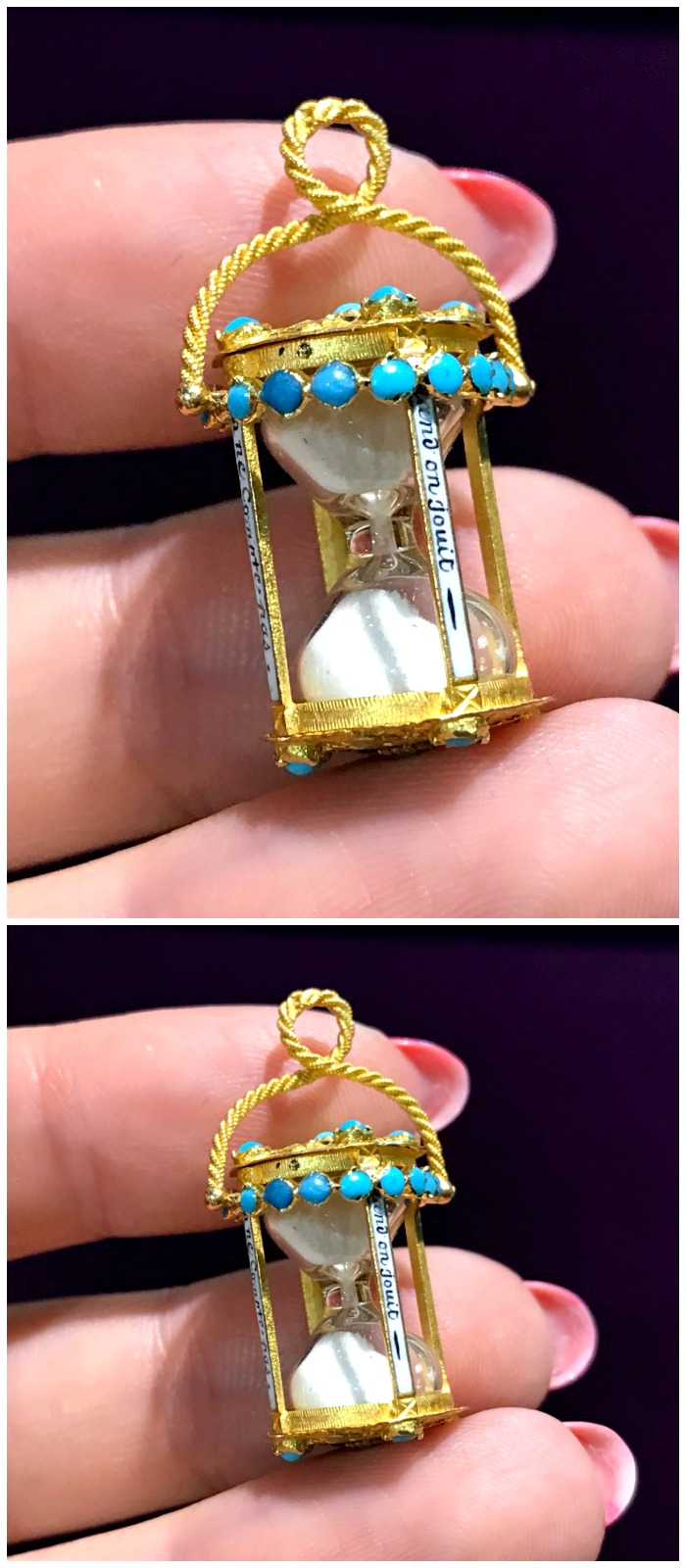 This little hourglass is a Georgian era French love charm. It has naughty phrases on the sides! From Lenore Dailey.