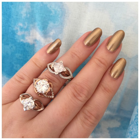 Three glamorous mixed-metal engagement rings by MaeVona. I love the combination of white and rose gold!