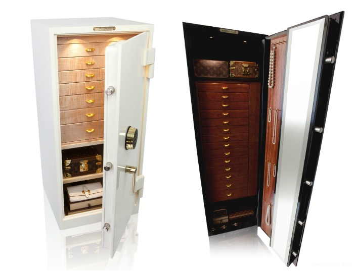 Two beautiful custom safes from Brown Safes - they're both as beautiful as the jewelry I'd like to store inside them.