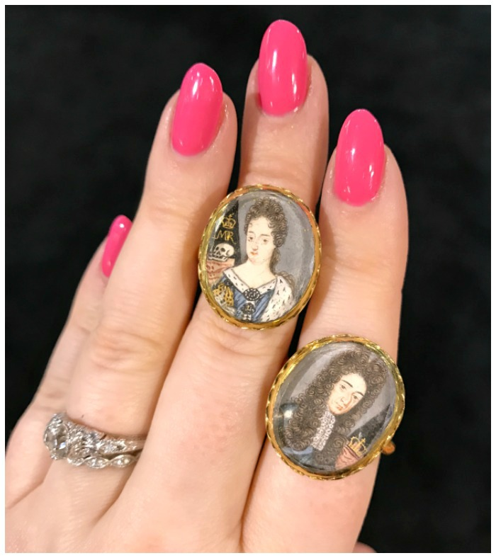 Two incredible rings made from Stuart era crystal elements that were probably slides, originally. At Lowther Antiques.