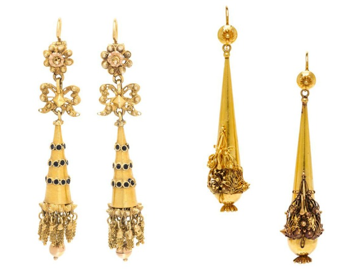 Two pairs of gold Victorian era earrings from Leslie Hindman's April jewelry auction.