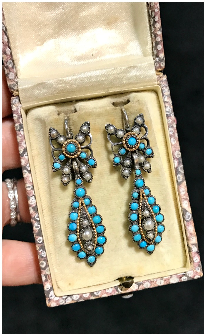 An exceptional pair of antique Victorian era turquoise and pearl earrings in silver, circa 1880. From Spare Room Antiques.