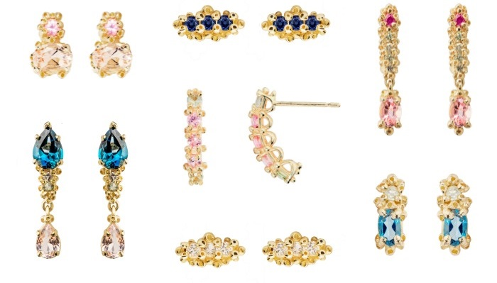 Beautiful handmade earrings by Ruta Reifen, with colorful gemstones in yellow gold.
