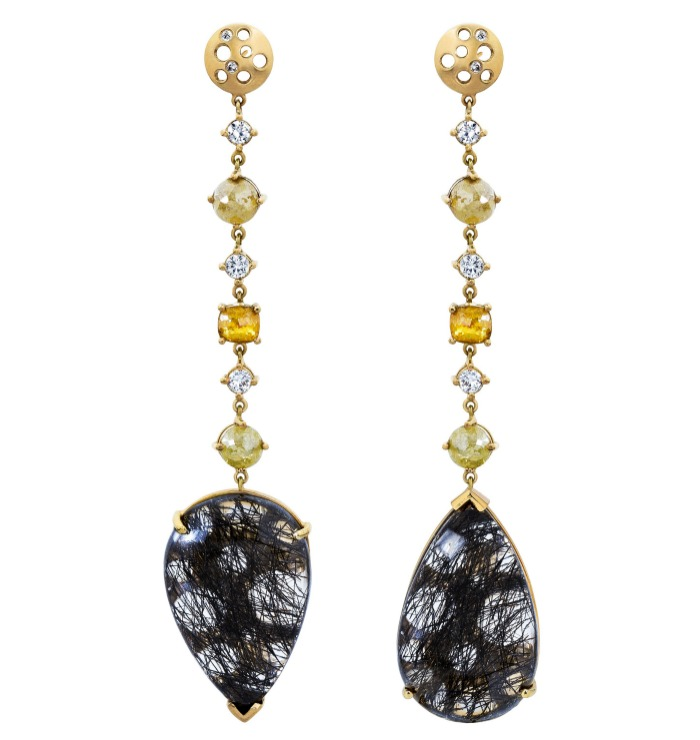 Dana Bronfman earrings with black rutilated quartz and white and yellow diamonds (4.45 tcw).