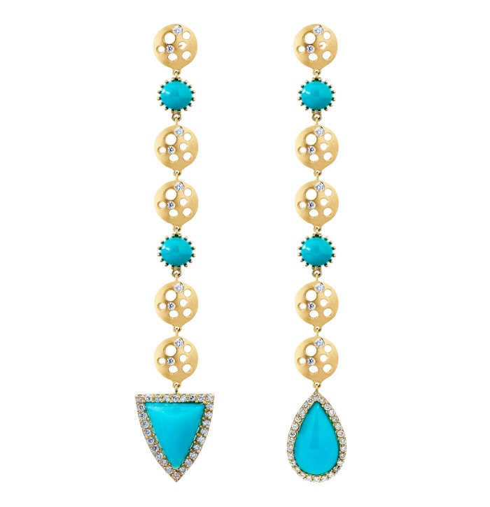 Dana Bronfman earrings with 8 cts chrysocolla and .5 cts diamonds in 18K yellow gold.