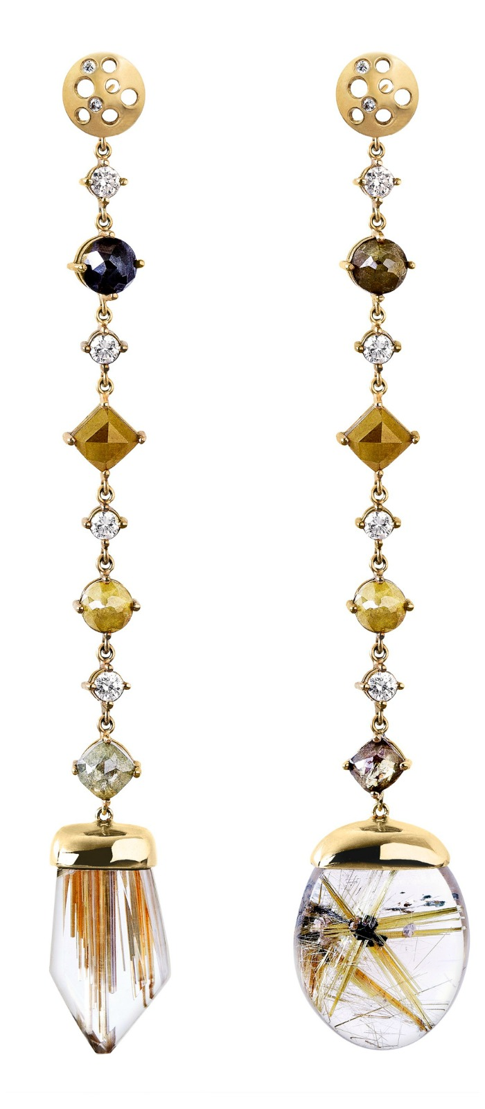 Dana Bronfman golden rutilated quartz Oculus mismatched earrings with white and yellow diamonds (6.12 tcw).