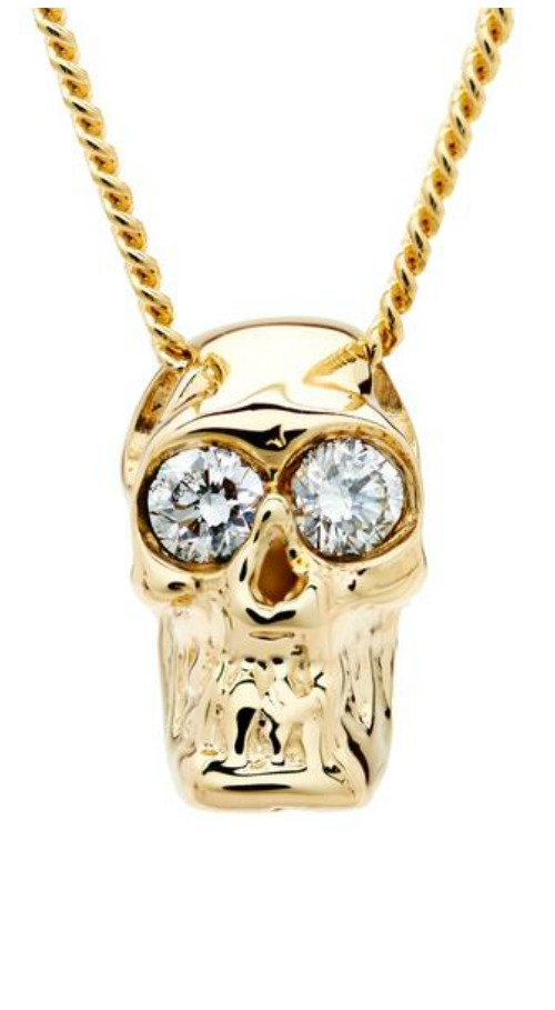 I love these Alexis Kletjian skulls! This one is a slide charm in yellow gold with diamonds.