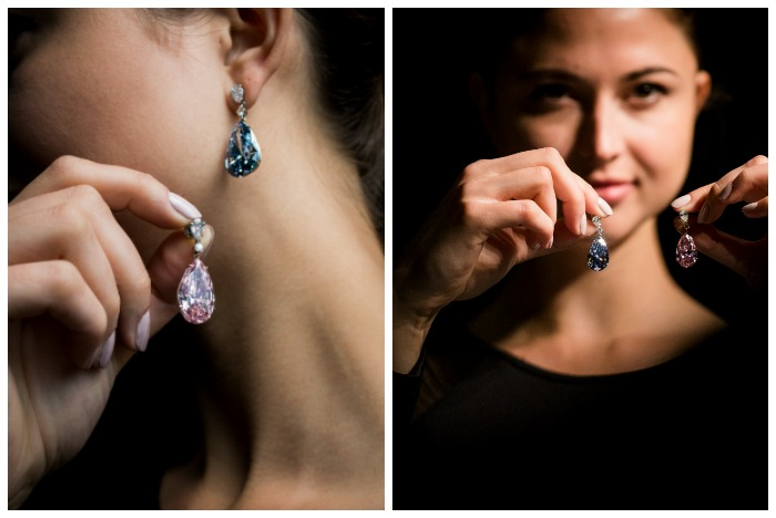 The Apollo blue diamond and the Artemis pink diamond make up this once in a lifetime pair of diamond earrings.