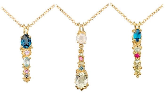Three beautiful handmade yellow gold necklaces by Ruta Reifen, set with colorful gemstones.