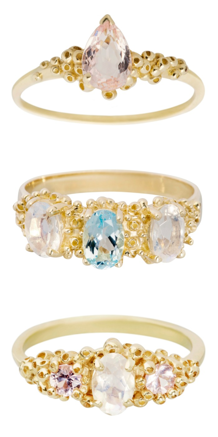 Three dreamy handmade rings by Ruta Reifen. In yellow gold with gemstones; rainbow moonstone, sapphires, amethyst, and more.
