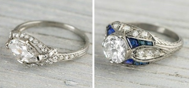 Two amazing art deco engagment rings
