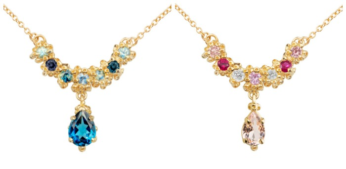 Two beautiful handmade necklaces by Ruta Reifen with colorful gemstones in yellow gold.