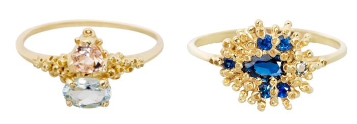 Two beautiful handmade yellow gold rings by Ruta Reifen. One with blue sapphires, the other with morganite and aquamarine.