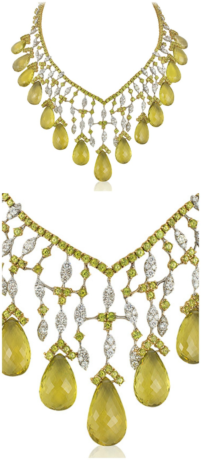 An incredible Andreoli briolette necklace with 11.63 carats of diamonds and 306.23g peridot.