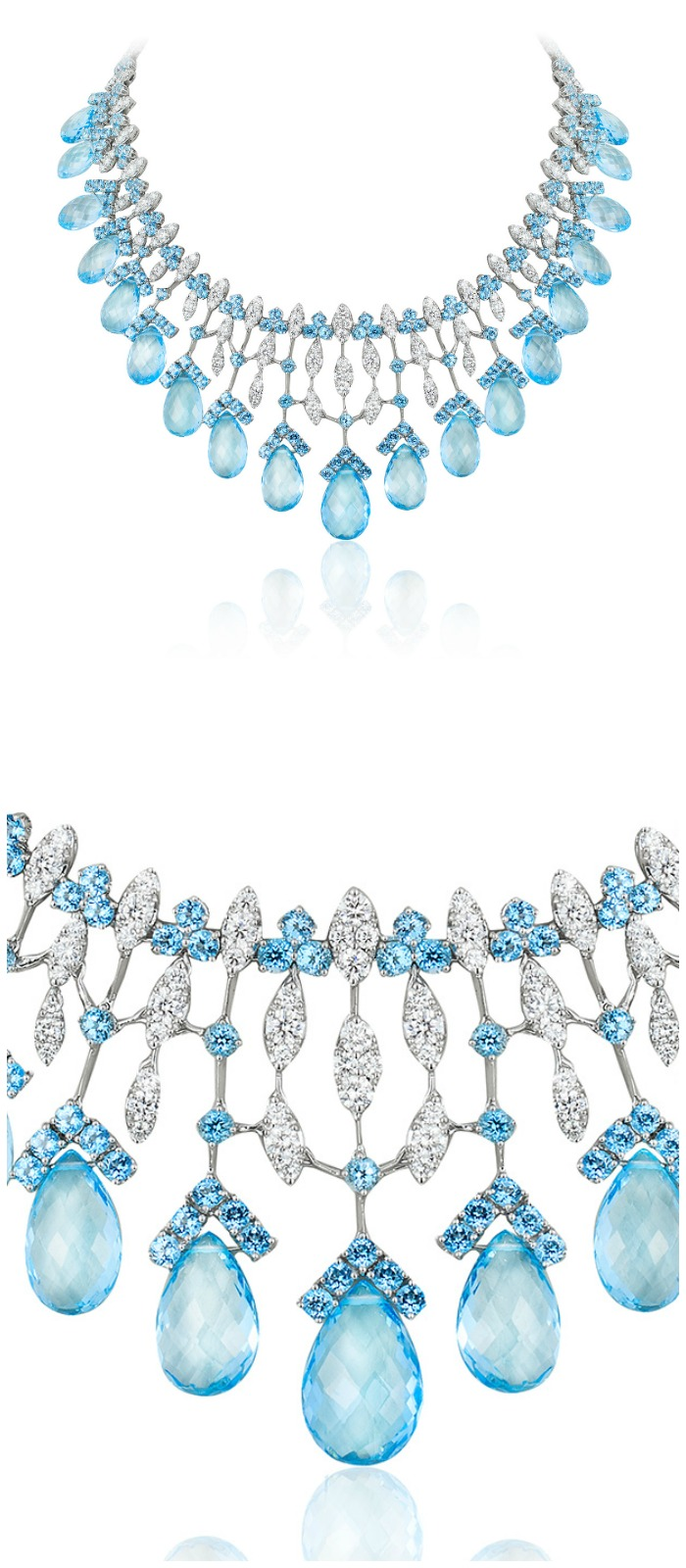 An incredible Andreoli briolette necklace with diamonds and blue topaz.