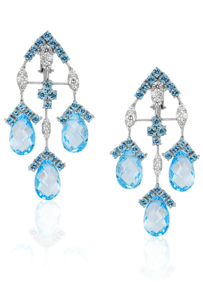 Beautiful Andreoli briolette earrings with 2.16 carats of diamonds, 9.25 g round blue topaz, and 46.90 g drop blue topaz
