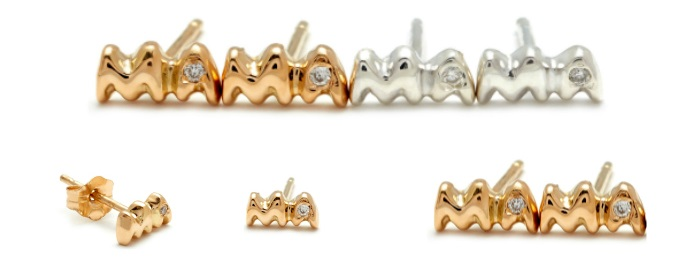 Stud earrings from Elisa Solomon's Mama jewelry collection! In white or yellow gold with diamonds.