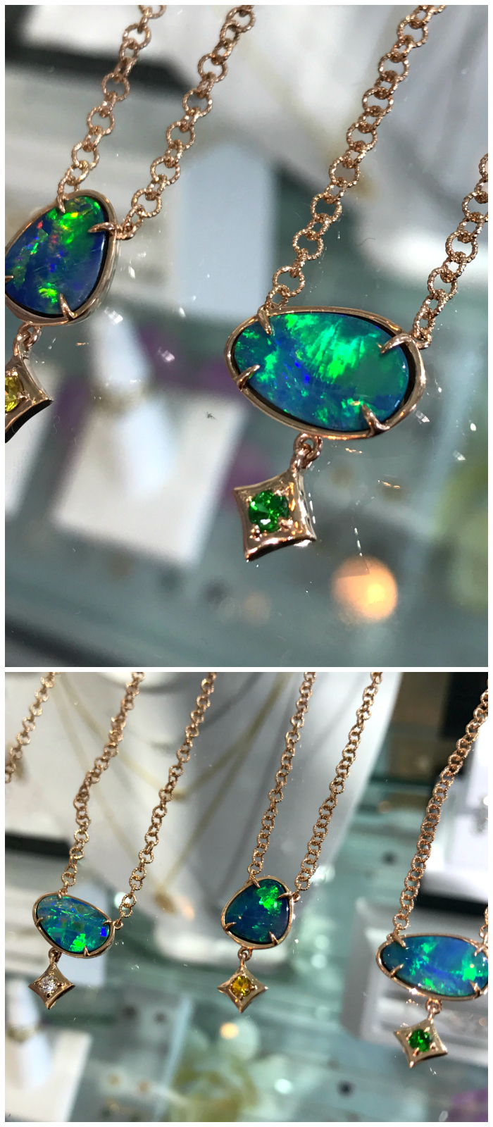 Stunning opal and gemstone necklaces from Gigi Ferranti jewelry! Each one of a kind.