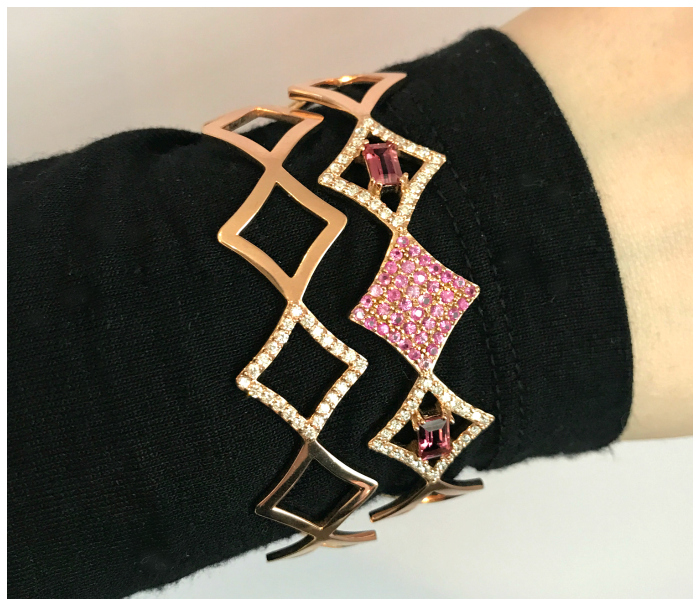 Two bracelets from Gigi Ferranti's Regalo collection. With diamonds and pink sapphires in gold.