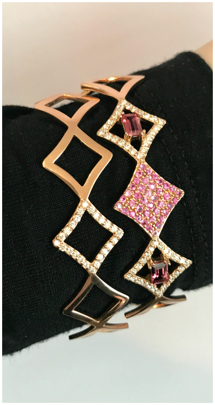 Two wonderful bracelets from Gigi Ferranti's Regalo collection. With diamonds and pink sapphires in gold.
