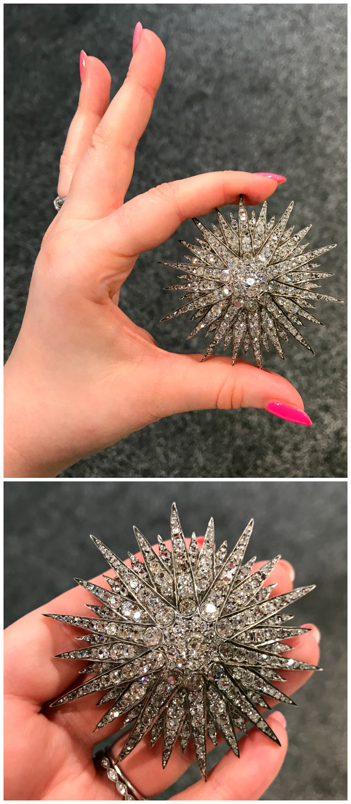 A magnificent Victorian era diamond starburst brooch. From Moira Fine Jewellery.