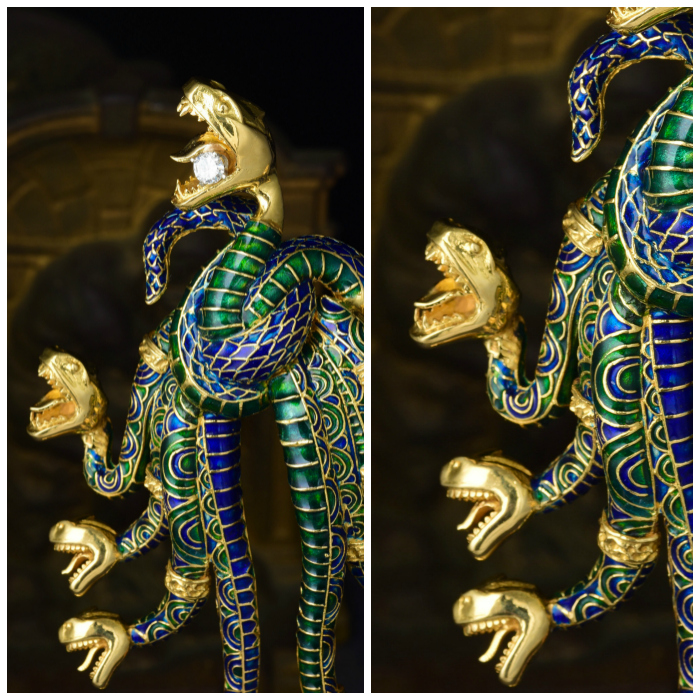 A magnificent and unusual snake brooch by Ilias Lalaounis. In gold, with diamond and enamel. From the Fortuna Summer Fine Jewels Sale.