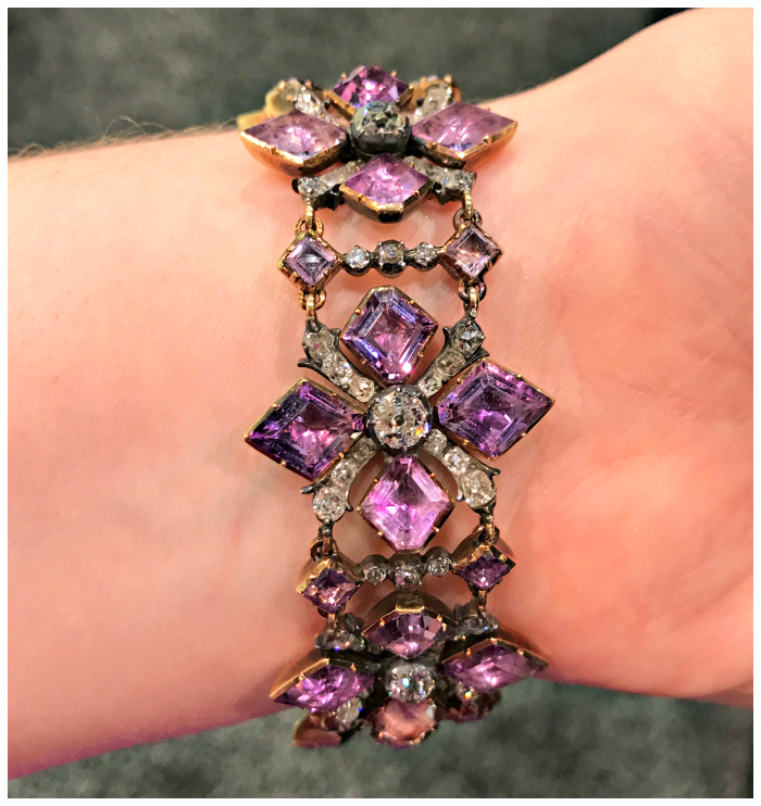 A stunning amethyst bracelet from the Russian Crown Jewels. This belonged to Catherine the Great, circa 1740's.