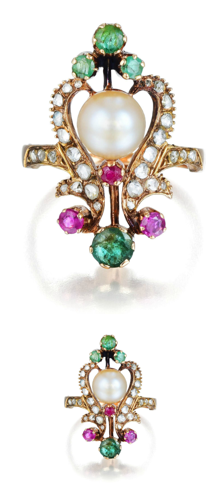 An Antique Natural Pearl, Diamond, Ruby and Emerald Ring