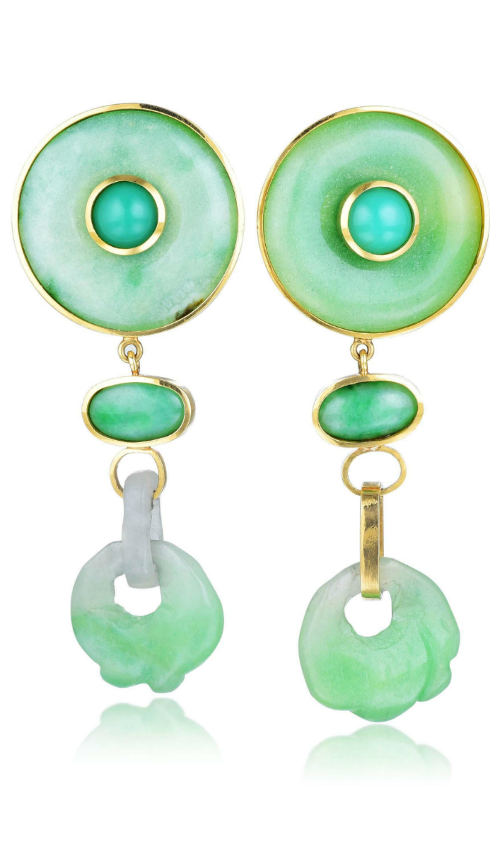 I can't get enough of the cool jade tones in these Tony Duquette earrings.