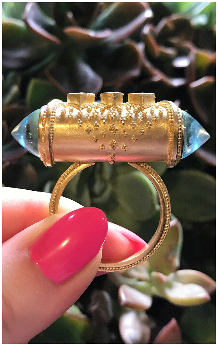 A glorious gold and gemstone ring by Loren Nicole.