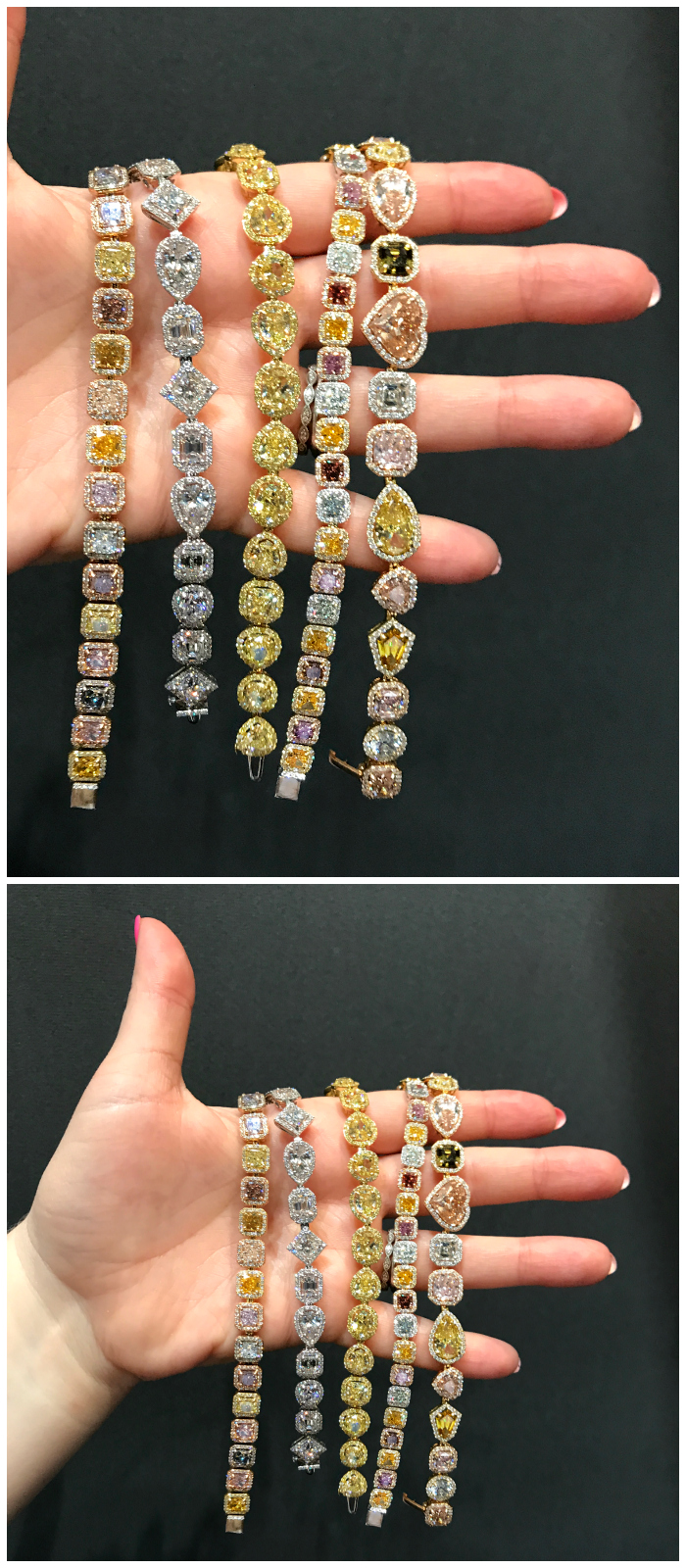 A handful of fantastic diamond and colored diamond bracelets by V Tse Jewelry. Look at those stones!!