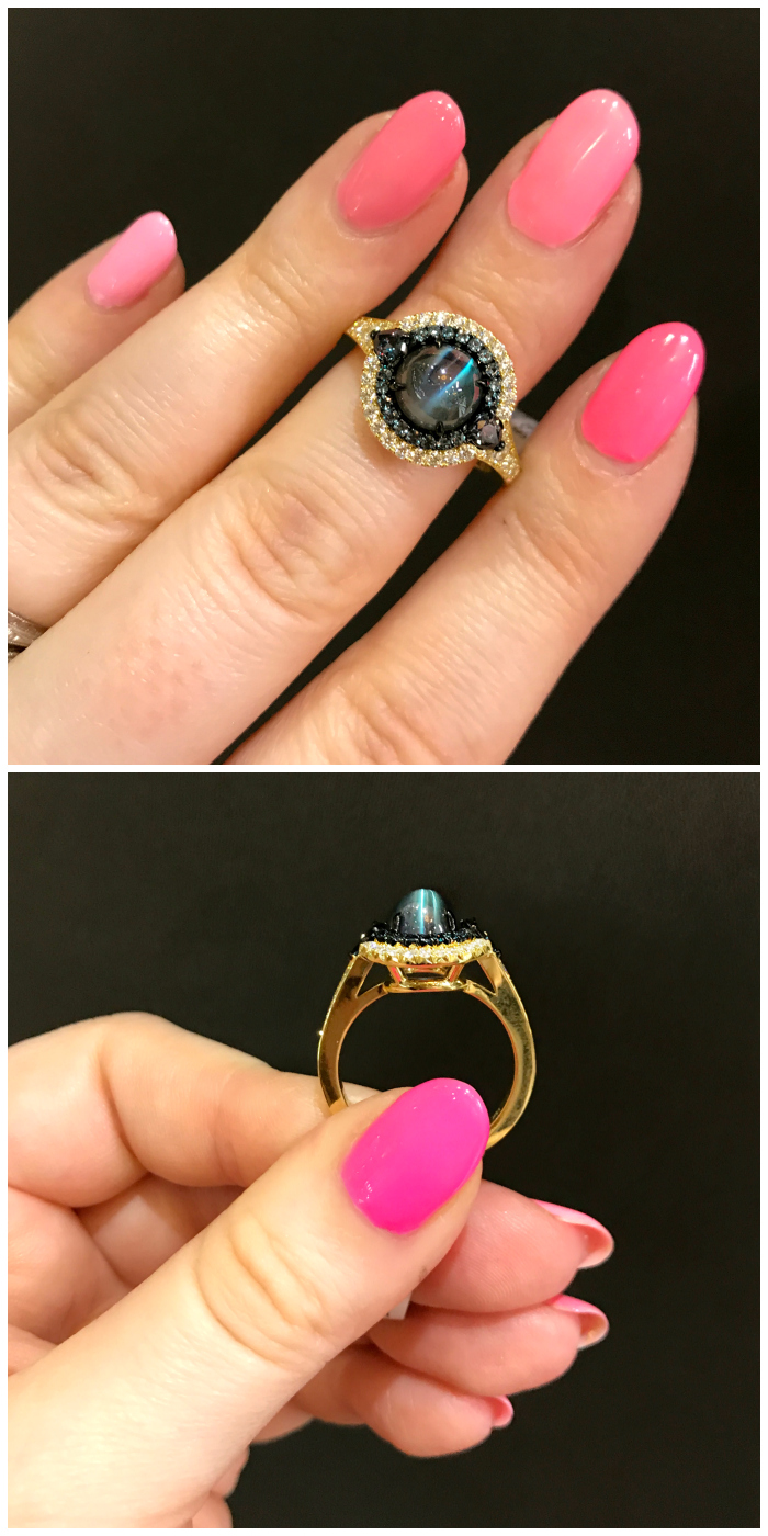 A stunningly rare cat's eye cabochon alexandrite ring by Omi Prive.