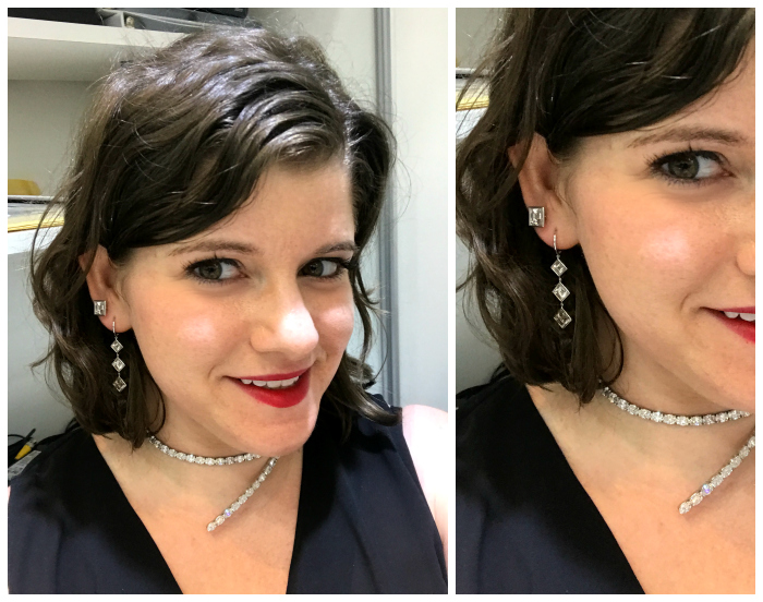 All decked out in Rahaminov Diamonds' diamonds! I'm obsessed with these carre cut earrings.