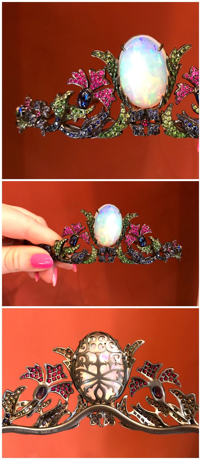 An incredible tiara by French jewelry designer Lydia Courteille. One large, beautiful opal and plenty of other colored gems.