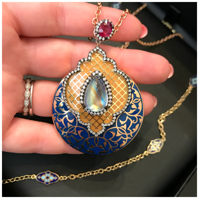 An utterly fantastic necklace by Lord Jewelry. Enamel and gemstones and gold, oh my!