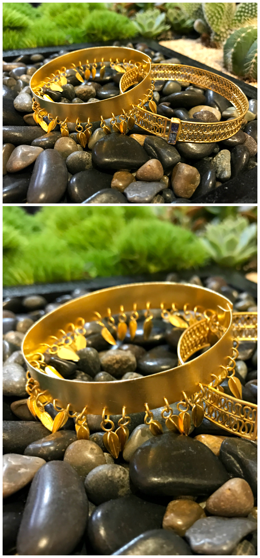 Beautiful gold bracelets by goldsmith and jewelry designer Loren Nicole.
