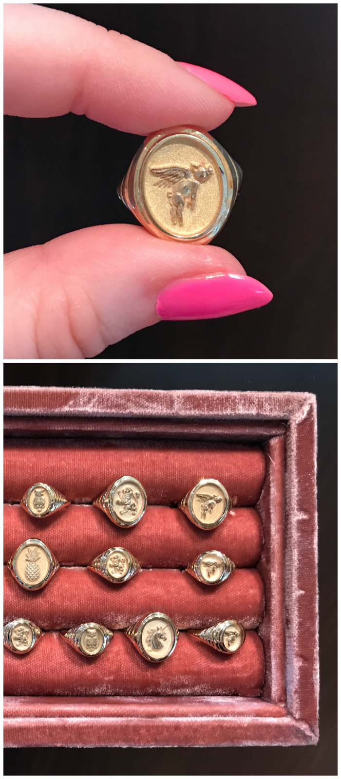 I adore these gold signet rings by Retrouvai! Not only do they look fabulous, they each represent something different. I love the flying pig ring, which represents the idea that nothing is impossible.